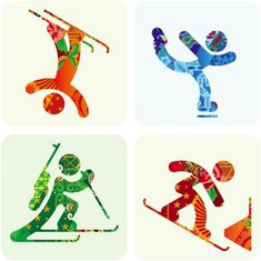 "Sochi 2014 Organizing Committee unveiled the pictograms of the 2014 Winter Olympic Games. The pictograms are based on those of the 1980 Summer Olympic Games in Moscow and, as the press release states, ""taking into account modern views Winter Olympics 2014, Winter Olympic Games, Summer Olympics, Winter Games, Square 1 Art, Olympic Sports, Olympic Icons, 3rd Grade Art, Winter Project"