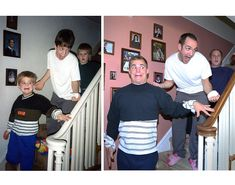 Nowadays it seems the popular trend for siblings is recreating old family photos. These photos features three brothers doing just that, and turning them into a