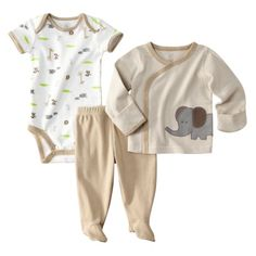 JUST ONE YOU Made by Carters ® Newborn Boys Elephant 3 Piece Set - Brown