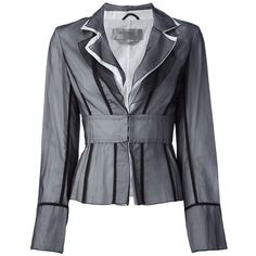 SPORTMAX VINTAGE 1990's sheer layered jacket (£154) ❤ liked on Polyvore featuring outerwear, jackets, coats, farfetch, blue jackets, long sleeve jacket, collar jacket, sheer jacket and vintage jackets