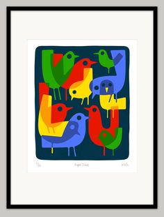 Night Birds by Lo Cole - Limited edition archival pigment ink print. £130.00, via Etsy.