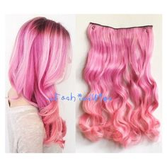 Pink Two Colors Ombre Hair Extension Synthetic Hair Extensions uf345 ($10) ❤ liked on Polyvore featuring beauty products, haircare, hair styling tools, bath & beauty, hair care, hair extensions, light pink and curly hair care