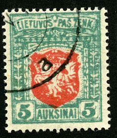 Lithuania  1919 Scott 60 5auk blue green & red On thin white paper, wmk 145