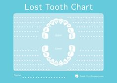 Lost Tooth Chart To Record Lost Baby Teeth By Toothfairytreasure