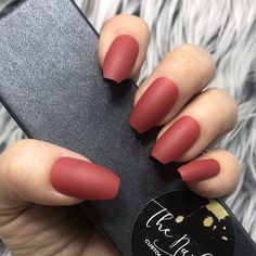 Ruby Red Solid Press On Nails , Matte Finish, Coffin Shape. Full set of 20 tips.  This set is Ready-to-ship within 1-2 days!