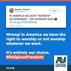 Is the idiot even remotely aware of the Bill of Rights? Religious Tolerance, Bill Of Rights, Worship God, American Horror Story, Constitution, The Unit, Twitter, Food, American Horror Stories