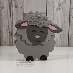 HandKrafted by Stephanie—TE Sack It - Lamb, made into shape card by fitting his face over the largest Bloomin' Stacklets 2 die. Paper Punch Art, Punch Art Cards, Easter Crafts, Crafts For Kids, Sheep Cards, Animal Cards, Spring Crafts, Kids Cards, Cute Cards