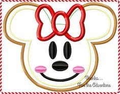 Minnie Mouse Head Gingerbread Cookie Applique Digital