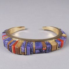 Charles Loloma,  14k Gold Multi Stone Inlay Bracelet, c.1980 / Hopi Pueblo,  (14k gold, charoite, coral, tigereye and fossilized ivory)