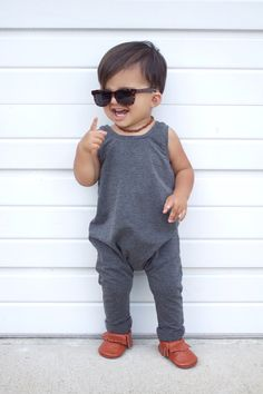 Charcoal gray romper - Baby romper - Toddler romper - Grey solid romper - Hipster baby clothes - Boy romper - Girl romper - Fall boy outfit by JumpingJacksCo on Etsy https://www.etsy.com/ca/listing/468575111/charcoal-gray-romper-baby-romper-toddler