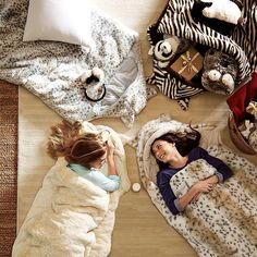 Pottery Barn Teen's Fur Sleeping Bag ($179) is furry inside and out and comes in ivory, snow leopard, gray leopard, and jaguar designs. For littler kids, check out Pottery Barn Kids for a similar fur sleeping bag ($129).