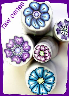 "Polymer Clay Flower Canes (raw), via Flickr.  mini canes 1"" or less"
