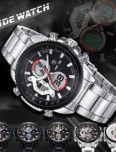 WEIDE Männer Mode-Analog-Digital-Sport-Uhr-Edelstahl Stoppuhr / Alarm-Hintergrundbeleuchtung / wasserdicht , black-blue - http://uhr.haus/yyf/weide-maenner-mode-analog-digital-sport-uhr-alarm-2