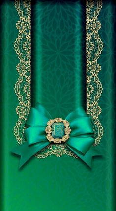 By Artist Unknown. Bow Wallpaper Iphone, Phone Background Wallpaper, 3d Wallpaper, Lock Screen Wallpaper, Wallpaper Backgrounds, Golden Wallpaper, Turquoise Art, Ribbon Bows, Shades Of Green