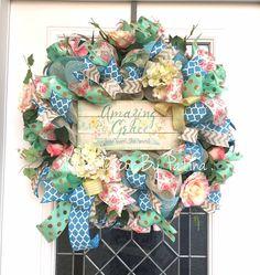 Spring Wreath  Religious Wreath  Spring Decor by DecoDecorByPatina