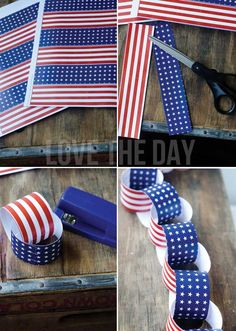 FREE PRINTABLE:: 4th of July Paper Chains by Love The Day.  Made available by Lindi Haws @ love-the-day.com Great ideas and free printables from the Lovely Lindi Haws.