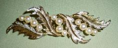 Vintage MARVELLA Textured Gold Leaves and Pearls by ArtsyTreasures, $15.00