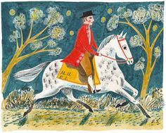 """Exhibition postcard for """"Mark Hearld and Emily Sutton"""", York College 2011 Ink and watercolour illus remind me of eric ravilous Scandinavian Folk Art, China Art, Naive Art, Equine Art, Horse Art, Children's Book Illustration, Painting Inspiration, Painting & Drawing, Portraits"""
