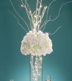 White LED Lighted Branch for Reception Centerpieces - Wedding Reception Decorations - Reception Table Decorations