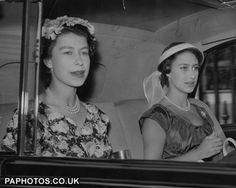 friendsreunited:  on the way to Royal Ascot 1955-Queen Elizabeth II and Princess Margaret