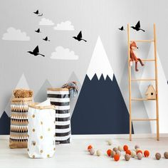 Dark Navy with White Geometric Mountains Wallpaper Wall Mural, Triangle Mountains Hills Swallow Geometric Nursery Living Room Wall Mural, Kids Playroom Rugs, Playroom Table, Kids Room Wall Decals, Playroom Furniture, Wall Murals, Playroom Decor, Playroom Ideas, Wall Decor, Baby Boy Room Decor