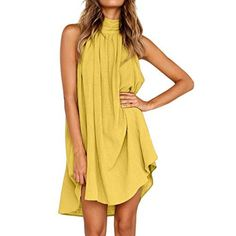 TIFENNY Fashion Lotus Leaf Mini Dresses for Womens Holiday Summer Solid Sleeveless Crewneck Party Beach Dress