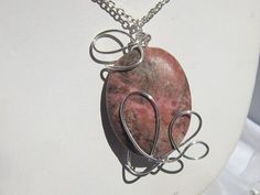 Wire Wrapped Rhodochrosite Pendant Necklace by MoonwitchDesigns, $20.00