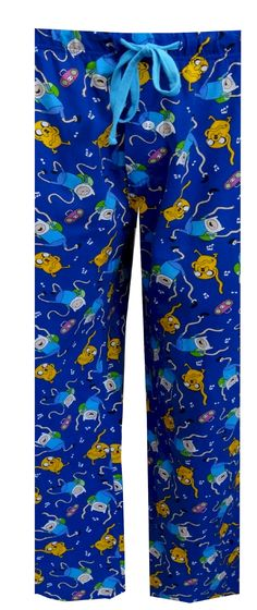 Adventure Time Jake And Finn Cotton Knit Lounge Pants, $18.50  Are you ready for adventure in the Land of Ooo? With his trusty magical dog Jake, Finn the Human is going to save the day! These loungepants have an all-over print of Jake the Dog and Finn the Human dancing to the music on a royal blue background. These lounge pants have a drawstring and elastic waist. Generous sizing.