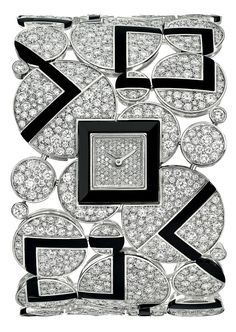 Bubbles #Watch from #CafeSociety - #Chanel - #FineJewelry collection in 18K white gold set with 1606 #BrilliantCut - #Diamonds (21.2 cts) and carved onyx - July 2014