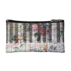 vintage floral piano keyboard makeup bag  $24.95  by musickitten  - cyo diy customize personalize unique