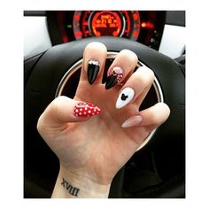 My Disney land Paris nails. #disney #minniemouse #spots #black #nails #nailart…