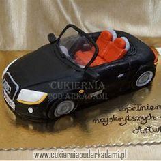 3BA. Tort 2D czarny cabriolet Audi. Cabrio Audi cake.