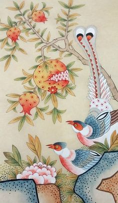 Korean Traditional, Traditional Design, Crewel Embroidery, Embroidery Patterns, Designer Bed Sheets, Illustration Blume, Korean Art, Art Template, Traditional Paintings