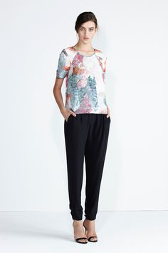 Secret South SS13/14 collection. Moonstone Top in Red Floral. Wildflower Pant in Black.  www.secretsouth.com.au Capri Pants, Spring Summer, Product Description, Floral, Ss, Beautiful, Collection, Black, Fashion