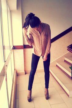 "Tan Chiffon Bershka Shirts, Black Skinny Zara Jeans, Brown Platform Bebo Heels | ""You will come back to me "" by AlinaS - Chictopia"