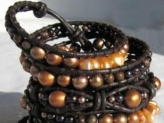 Graduated Coffee Brown, Orange-brown, Dark Brown Freshwater Pearls, Brown Mother Of Pearl Beads, Onyx Obsidian And Copper Beads On Brown Leather With Cop...