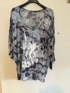 Freeshipping NWT Rock & Republic Women Graghic Tee Gray Star Wars Top Plus…