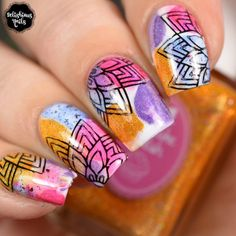 The Holo Hookup April 2018 Tulips smooshy blobbicure nail art floral stamping design