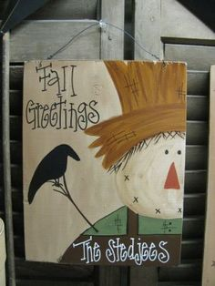 Hand Painted and Personalized Scarecrow Wood by GainersCreekCrafts Autumn Painting, Autumn Art, Tole Painting, Fall Paintings, Canvas Paintings, Fall Canvas Painting, Fall Halloween, Halloween Crafts, Fall Crafts