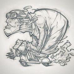 I had to sketch this guy that road by our window. #sketch #scooter #vespa #illustration #pencils #absorb81 #biker #cartoon