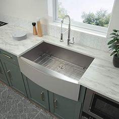 Kitchen Sink Sizes, Kitchen Sink Design, Double Bowl Kitchen Sink, Kitchen Reno, Kitchen Backsplash, Double Farmhouse Sink, Farmhouse Sink Kitchen, Rustic Kitchen, Modern Farmhouse
