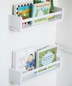 Ikea spice racks as forward-facing bookshelves for my nursery! I could literally fill 20 of these! Ikea spice racks as forward-facing bookshelves for my nursery! Spice Rack Bookshelves, Ikea Spice Racks As Book Shelves, Book Racks, Bookshelves Kids, Ikea Spice Rack Hack, Baby Shelves, Bookshelf Ideas, Book Storage, Hanging Storage