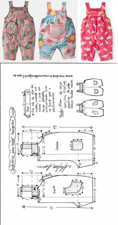 для деток: одежка для мальчиков Jardineira com botões para bebês - DIY- marlene mukai - molde infantil Toddler Sewing Patterns, Baby Girl Dress Patterns, Baby Clothes Patterns, Dress Sewing Patterns, Baby Girl Dresses, Baby Outfits, Toddler Outfits, Clothing Patterns, Kids Outfits