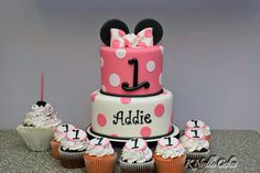 Addie's 1 st birthday cake Minnie Mouse theme by K Noelle Cake