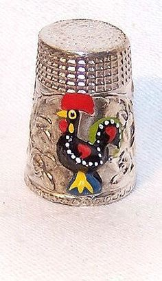 Vintage SILVERPLATE & Enamel Thimble - Country Rooster on Front! from robinsnestmidwest on Ruby Lane