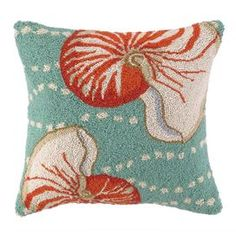 """Hand-hooked wool pillow with a nautilus shell motif in turquoise, orange-red, and cream.    Product: PillowConstruction Material: 100% Wool cover and down fillColor: Turquoise, orange-red and creamFeatures:  Hand-hookedInsert included Dimensions: 18"""" x 18""""Cleaning and Care: Spot clean"""