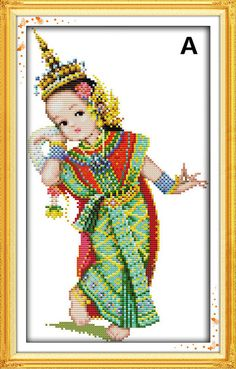 Needlework kit Newest design Thai style pattern Unfinished DIY Cross Stitch Kit Cross-stitch Sets - Thai Dance
