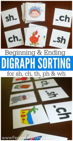 Teach Your Child to Read - Beginning and Ending Digraph Sorting Picture Cards - FREE - This Reading Mama - Give Your Child a Head Start, and.Pave the Way for a Bright, Successful Future. Teaching Phonics, Phonics Activities, Kindergarten Literacy, Teaching Reading, Guided Reading, Phonics Reading, Jolly Phonics, Reading Games, Teaching Ideas