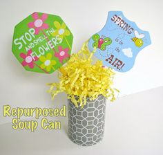 HomeMadeville: Recycling: Can into a Centerpiece for using shelf liner