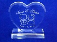 Hello Kitty & Daniel Wedding Cake Topper Engraved Personalzied FREE